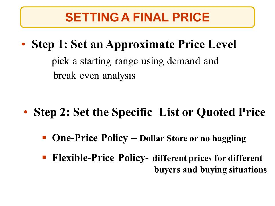 Step 1: Set an Approximate Price Level