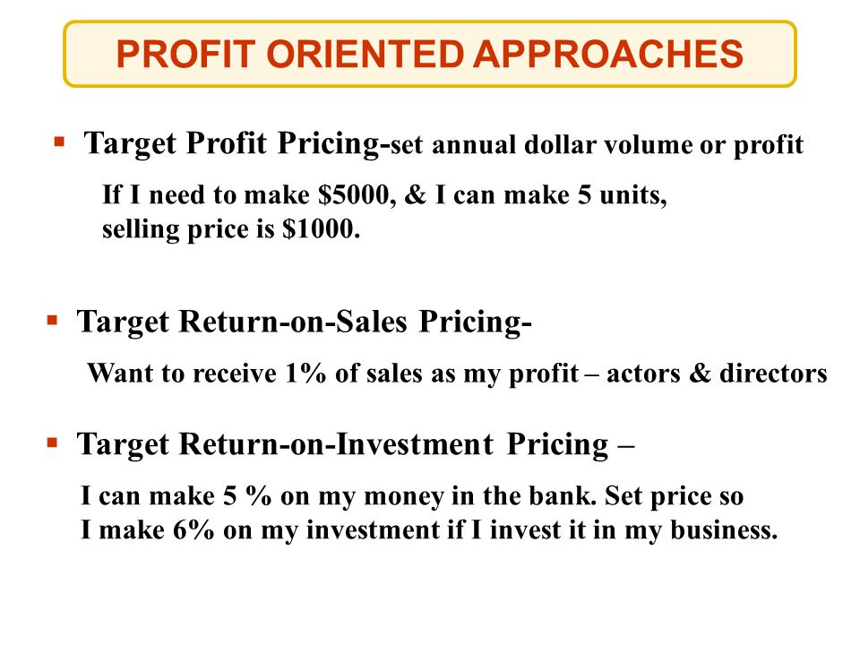 PROFIT ORIENTED APPROACHES