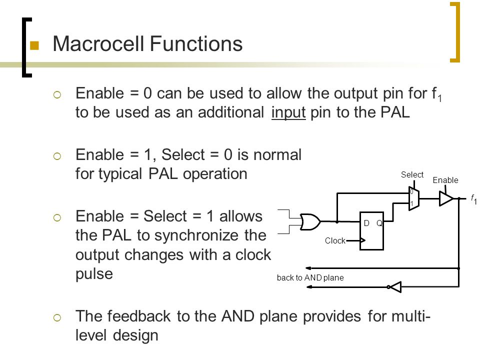 Macrocell Functions Enable = 0 can be used to allow the output pin for f1 to be used as an additional input pin to the PAL.