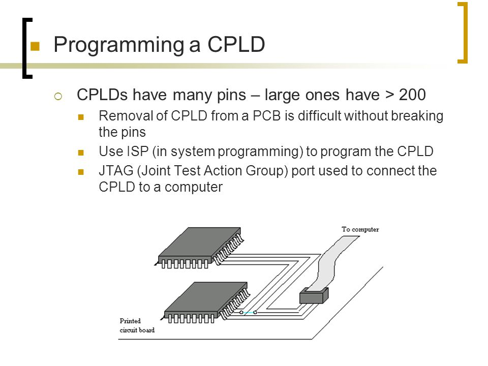 Programming a CPLD CPLDs have many pins – large ones have > 200