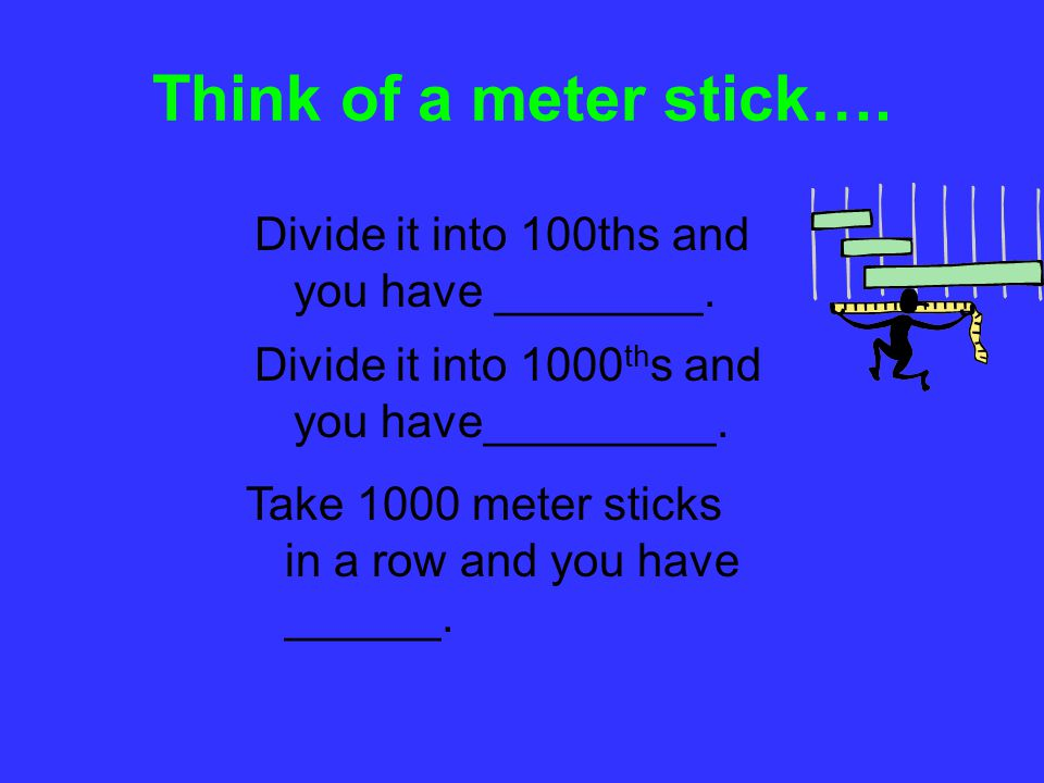 Think of a meter stick…. Divide it into 100ths and you have ________.