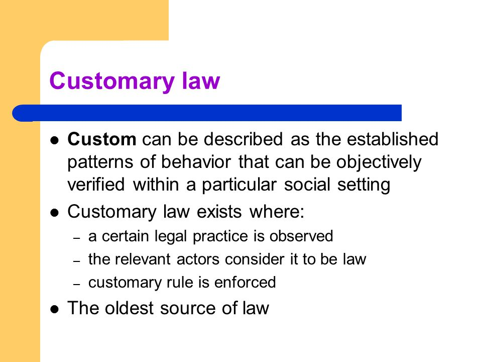Customary law Custom can be described as the established patterns of behavior that can be objectively verified within a particular social setting.