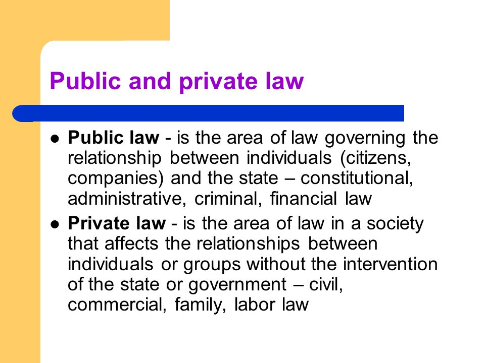 Public and private law