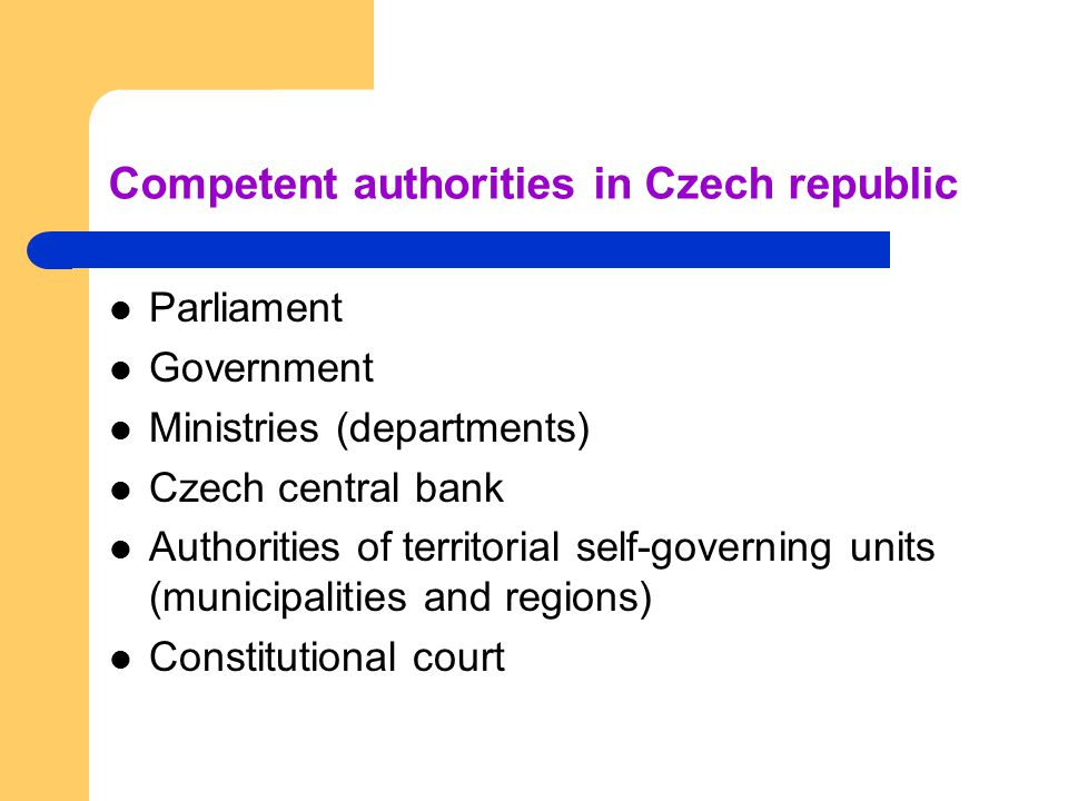 Competent authorities in Czech republic