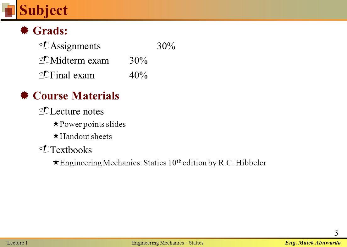 engineering mechanics statics lecture notes pdf