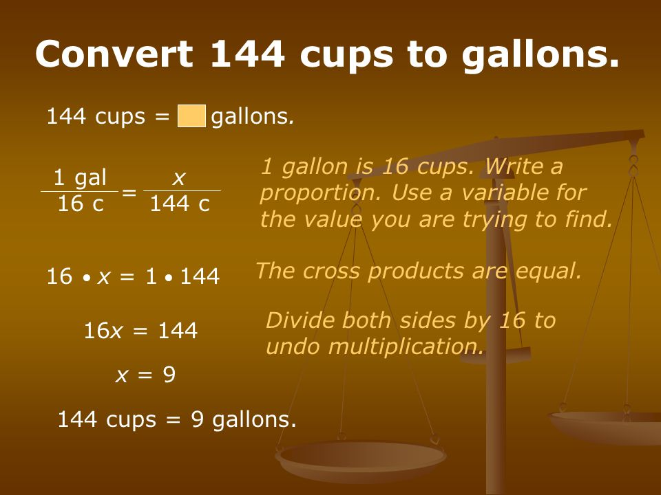 Convert 144 cups to gallons.
