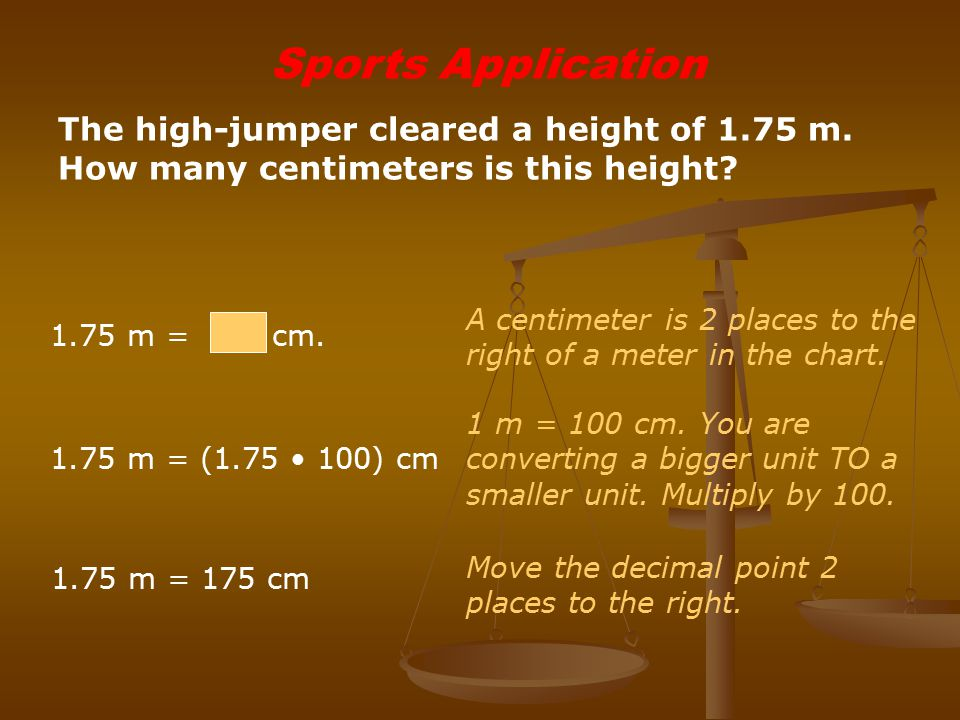 Sports Application The high-jumper cleared a height of 1.75 m. How many centimeters is this height