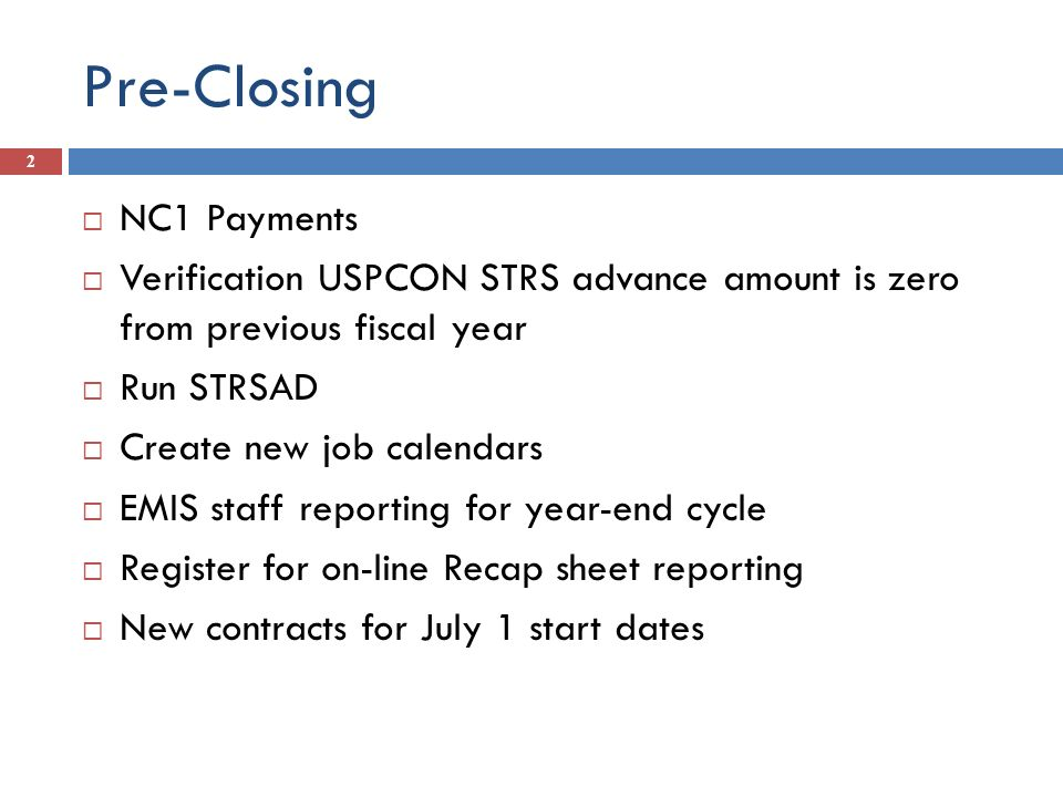 Pre-Closing NC1 Payments