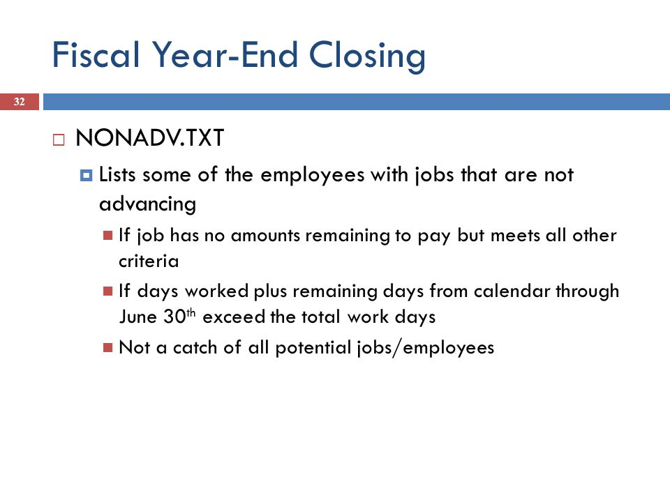 Fiscal Year-End Closing