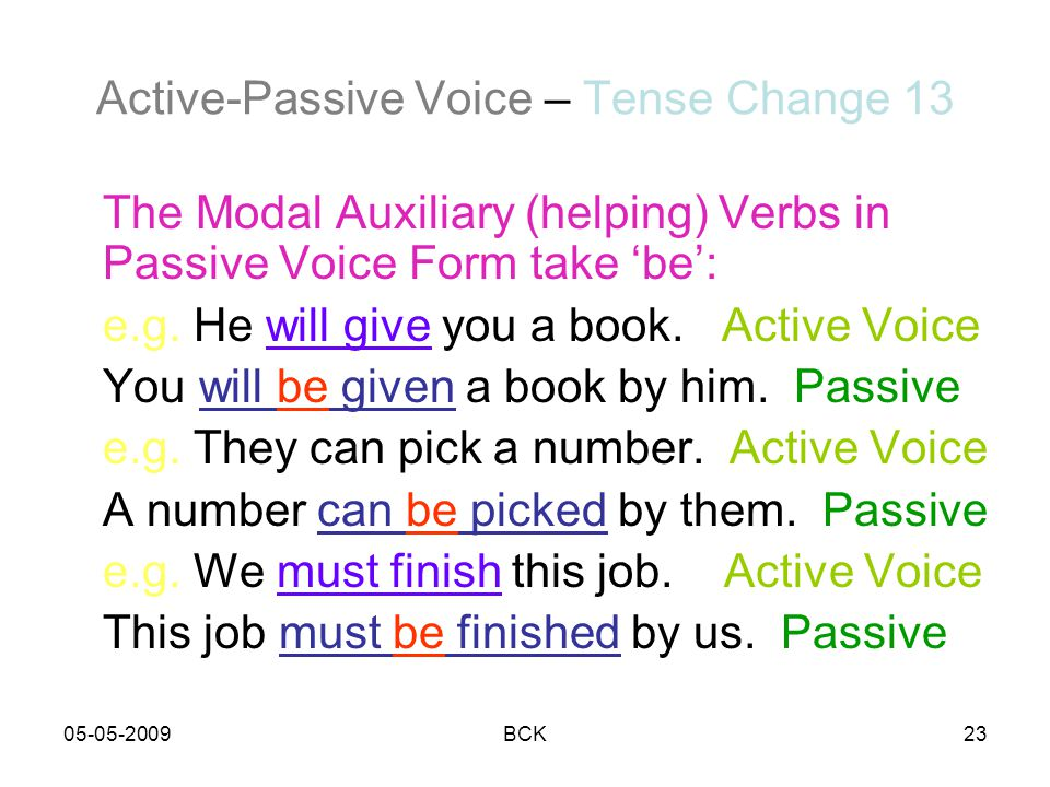 Active-Passive Voice – Tense Change 13