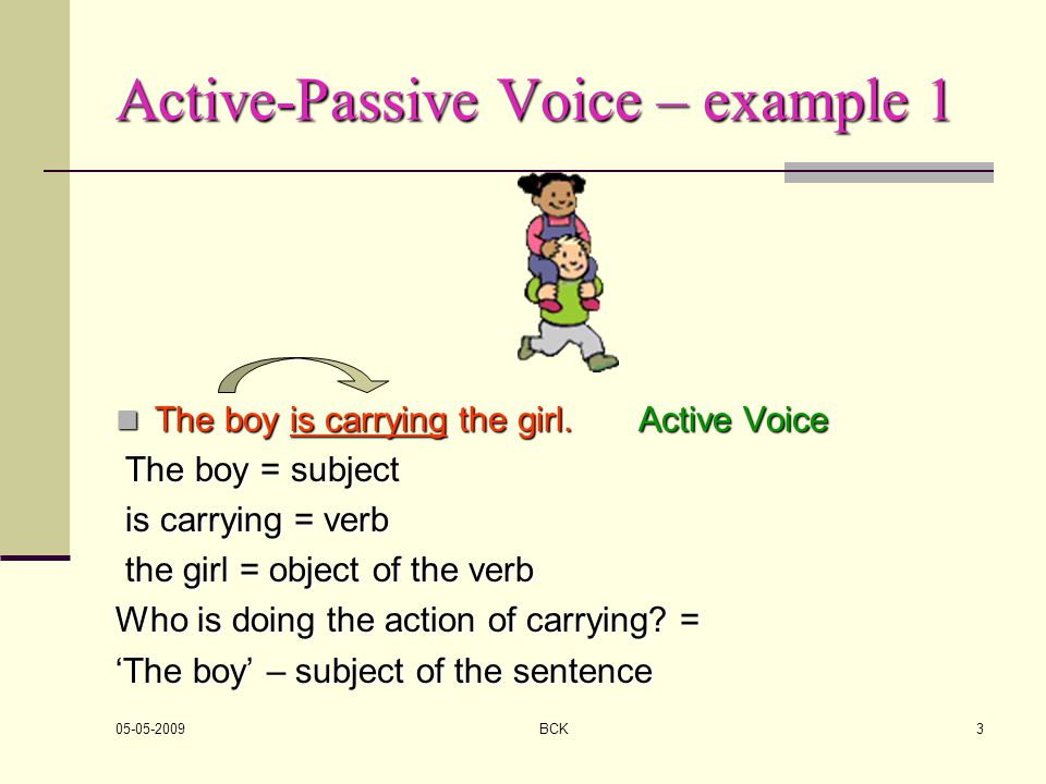 Active-Passive Voice – example 1