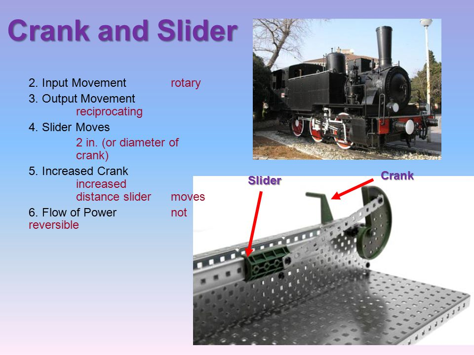 Crank and Slider 2. Input Movement rotary