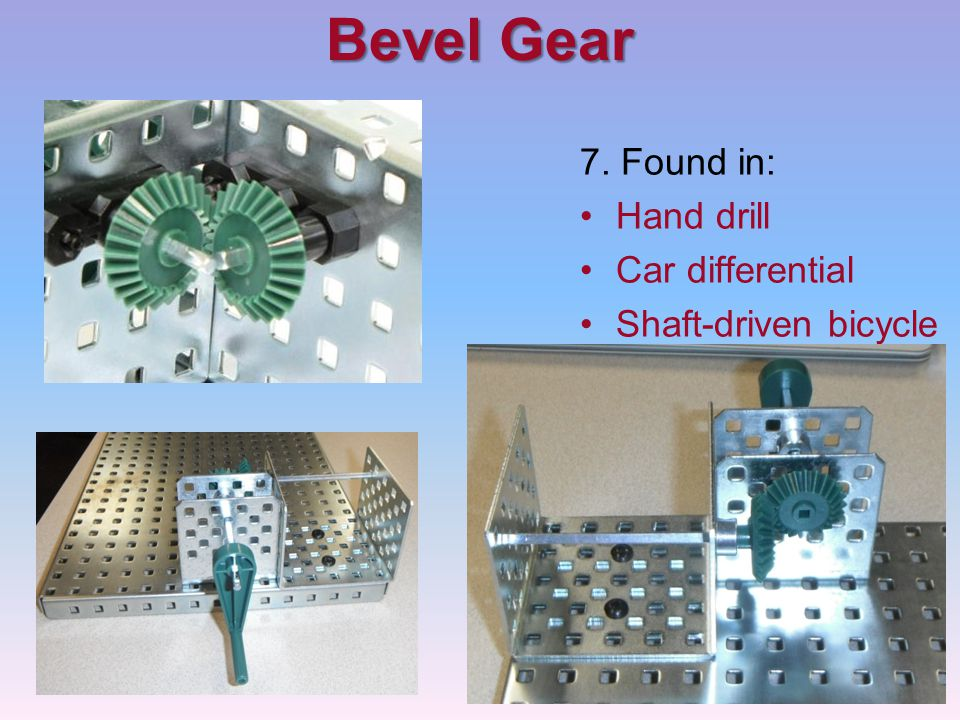 Bevel Gear 7. Found in: Hand drill Car differential