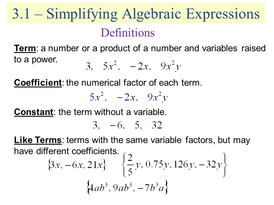 31 simplifying algebraic expressions ppt video online download 31 simplifying algebraic expressions ccuart Gallery