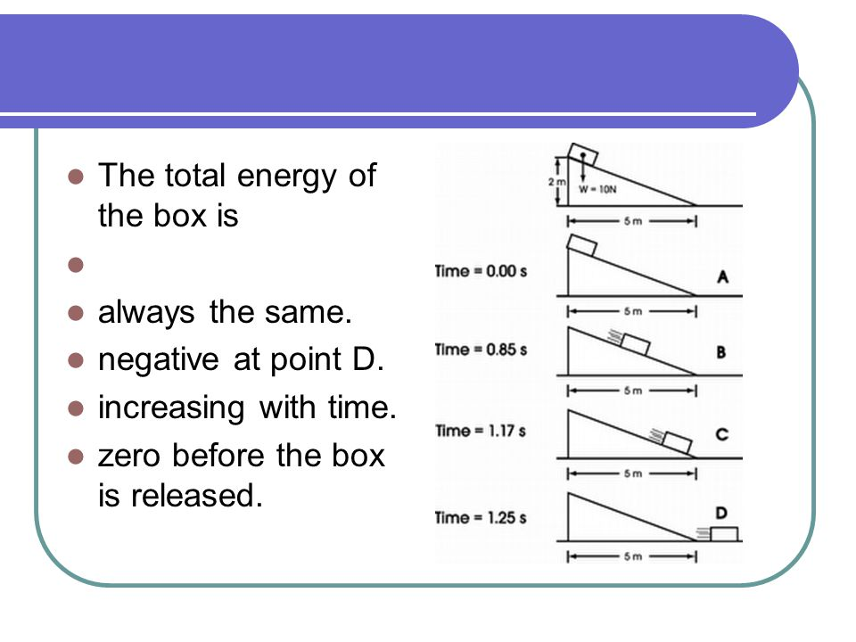 the total energy of the box is ____ The law of conservation of energy can be stated in three (equivalent) ways: energy cannot be created or destroyed,  the total energy of an isolated system is constant.