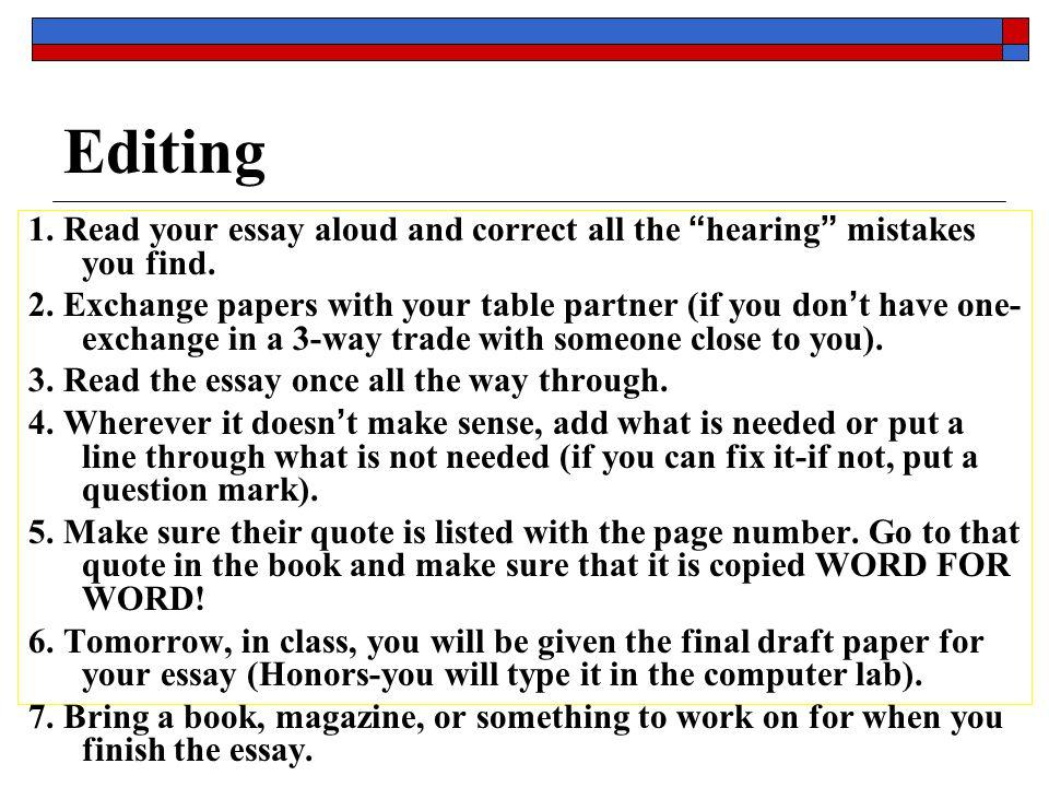 Reading your essay aloud