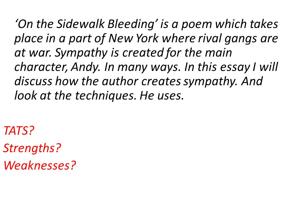 On The Sidewalk Bleeding By Evan Hunter Essay  On The Sidewalk  On The Sidewalk Bleeding Help With Essay Papers also Health Education Essay  Persuasive Essay Topics For High School Students
