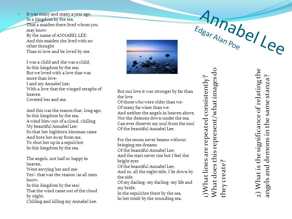 annabel lee essays It was many and many a year ago, in a kingdom by the sea, that a maiden there  lived whom you may know by the name of annabel lee and this maiden she.