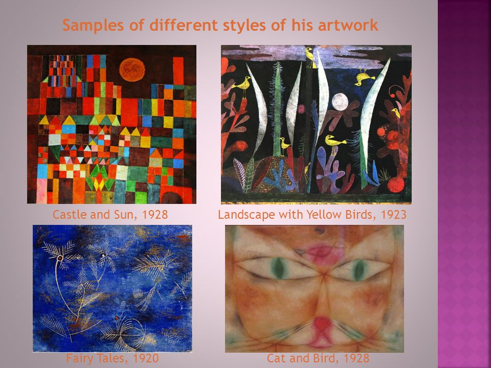 Samples of different styles of his artwork
