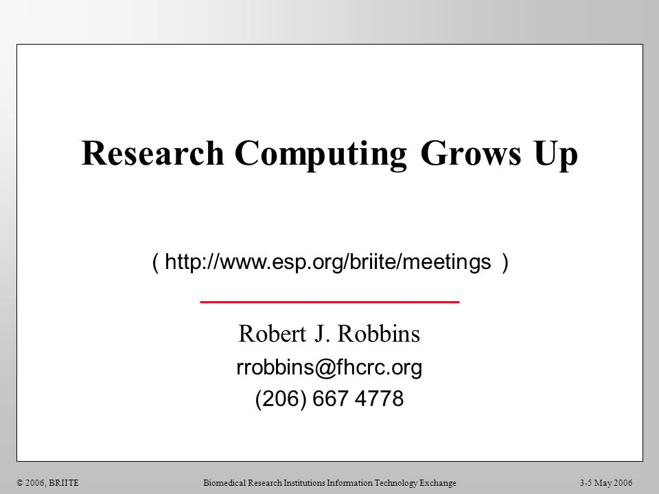 Research Computing Grows Up