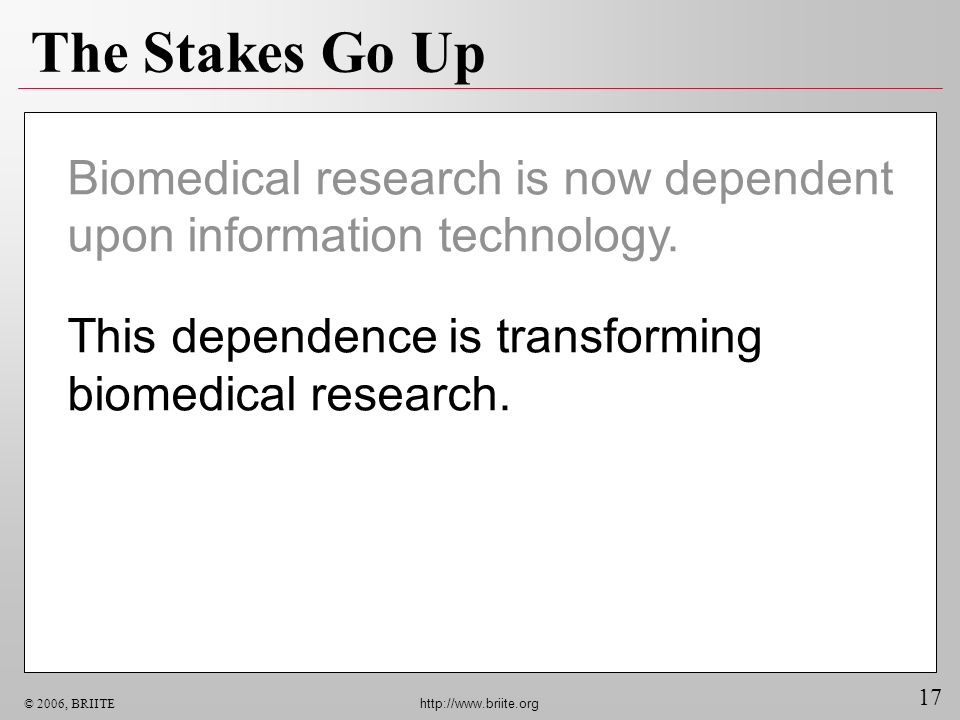 The Stakes Go Up Biomedical research is now dependent upon information technology.