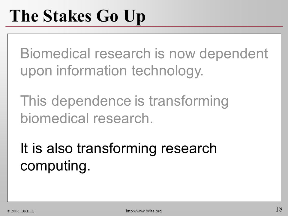 The Stakes Go Up Biomedical research is now dependent upon information technology. This dependence is transforming biomedical research.