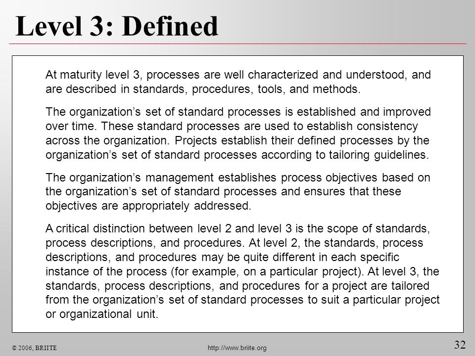 Level 3: Defined