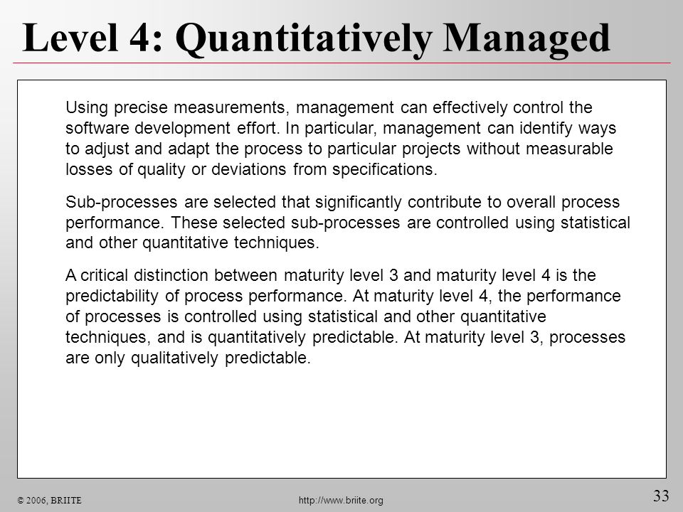 Level 4: Quantitatively Managed