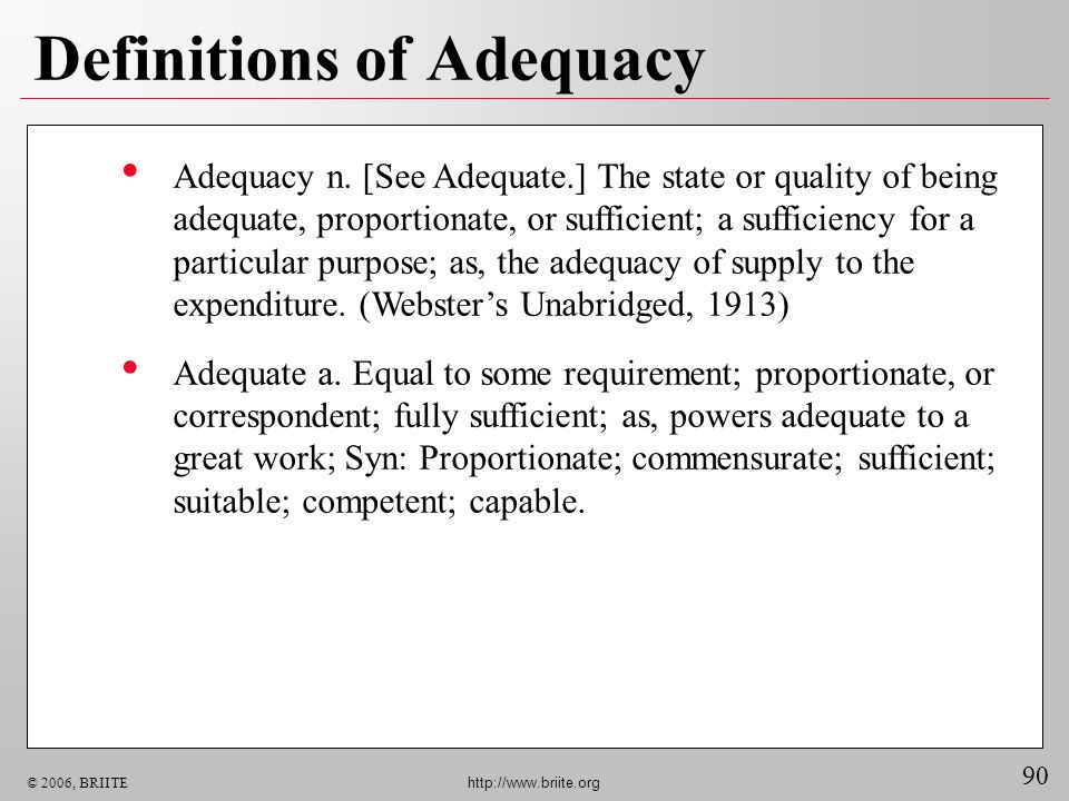 Definitions of Adequacy