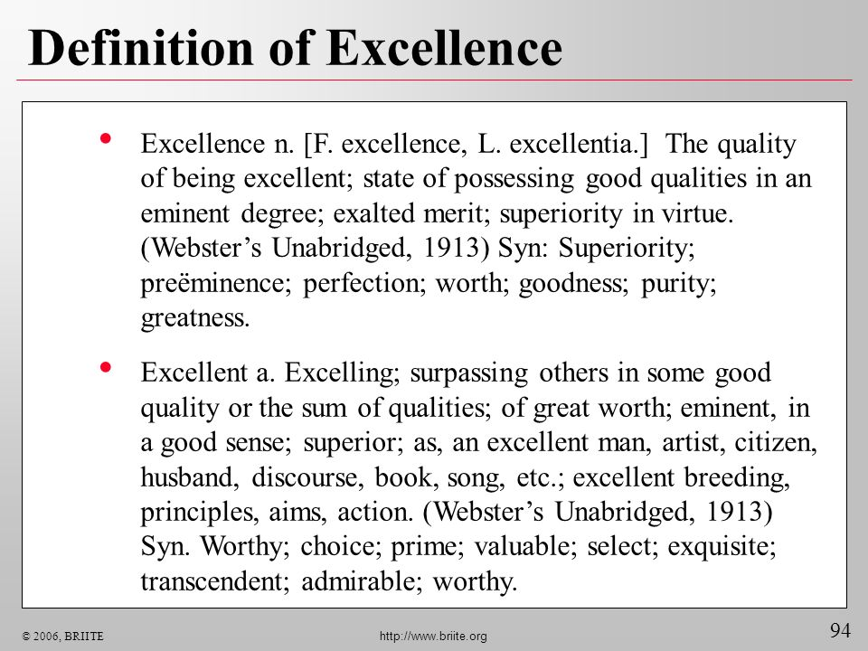 Definition of Excellence