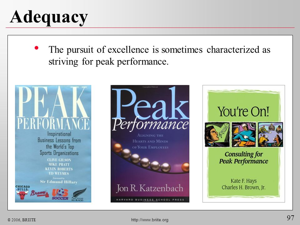 Adequacy The pursuit of excellence is sometimes characterized as striving for peak performance.