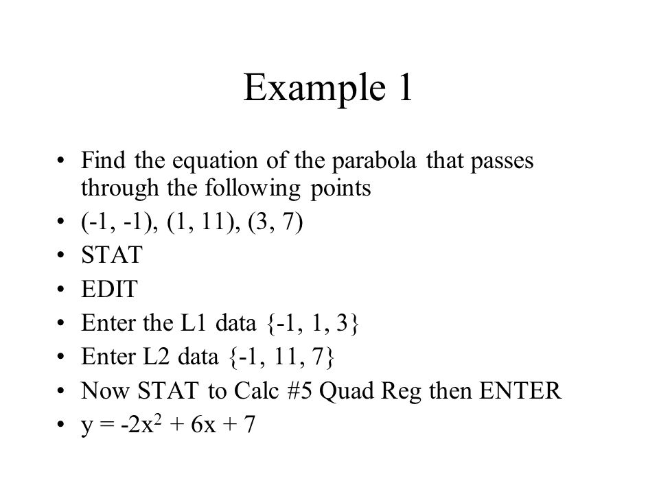 Find An Equation In Standard Form Of The Parabola Passing Through