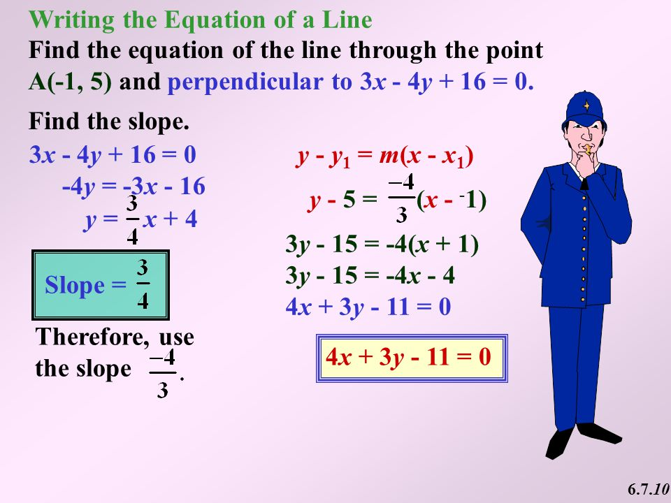 writing the equation of a line How to write equations in slope-intercept form, how to get the equation of a line  given two points on the line, how to write equations of horizontal and vertical.