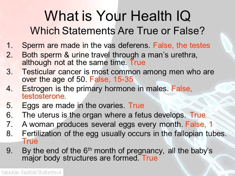 What is Your Health IQ Which Statements Are True or False