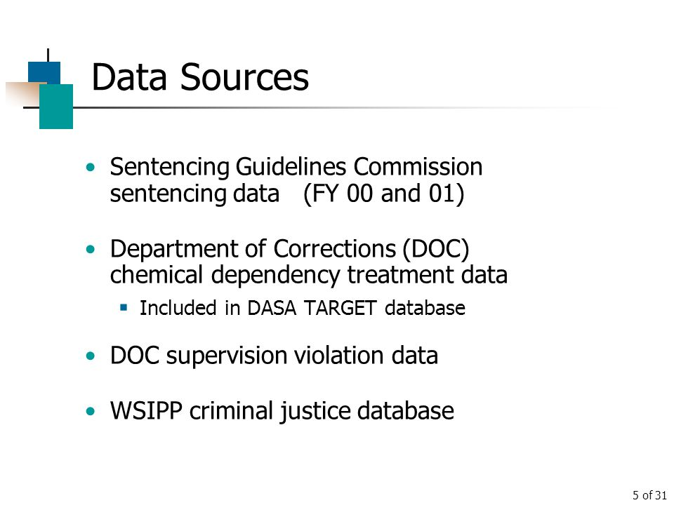 Data Sources Sentencing Guidelines Commission sentencing data (FY 00 and 01) Department of Corrections (DOC) chemical dependency treatment data.