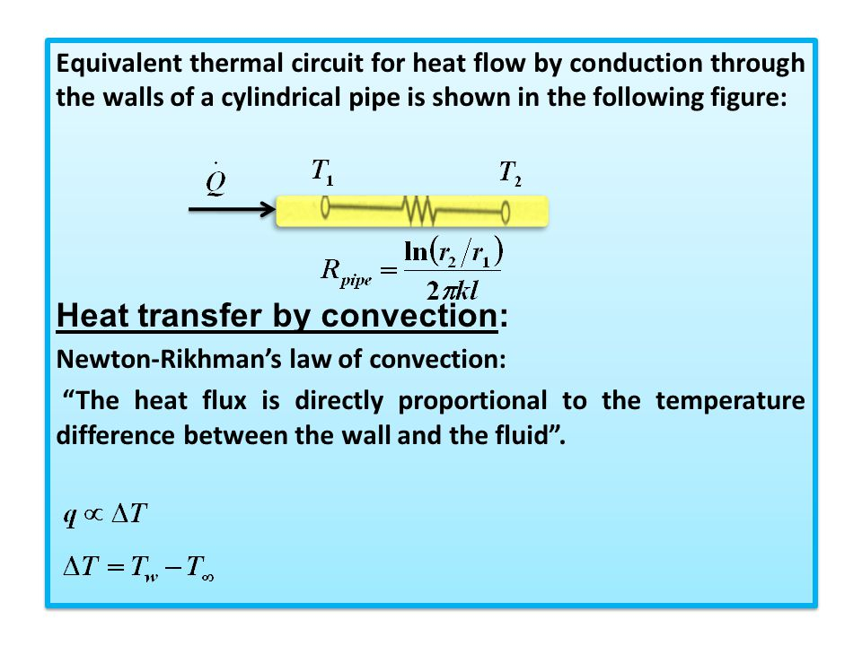 Heat transfer by convection: