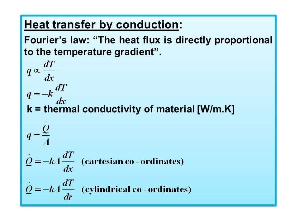 Heat transfer by conduction: