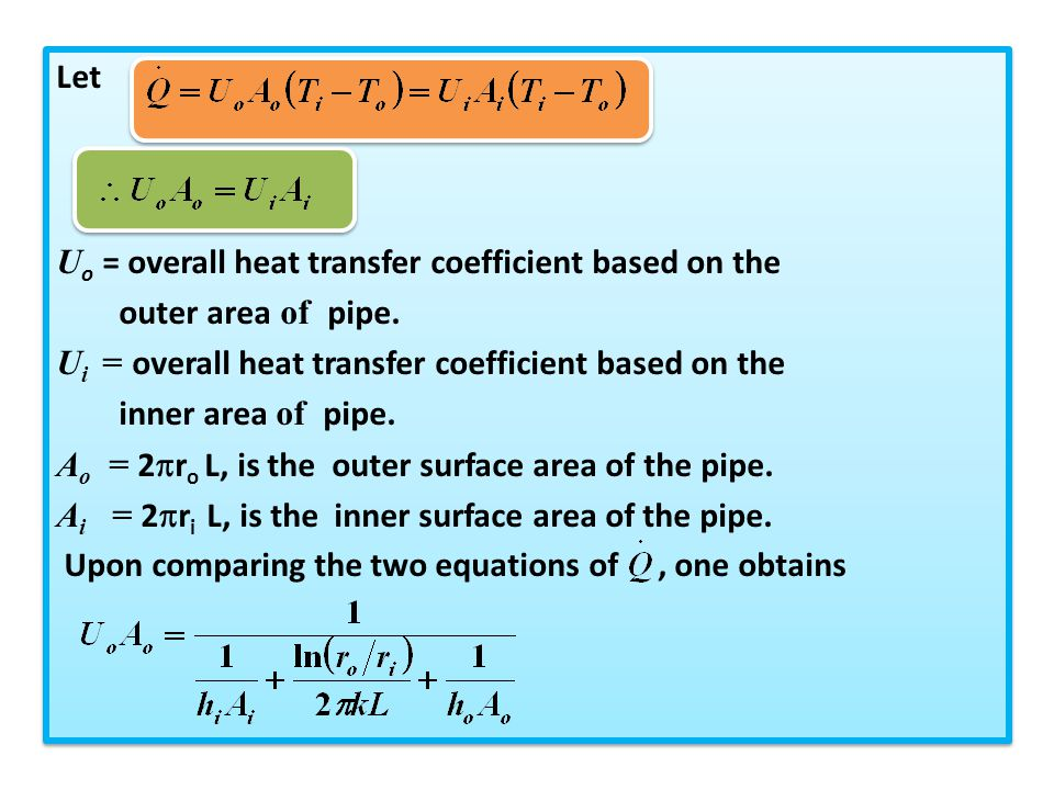 Let Uo = overall heat transfer coefficient based on the. outer area of pipe. Ui = overall heat transfer coefficient based on the.
