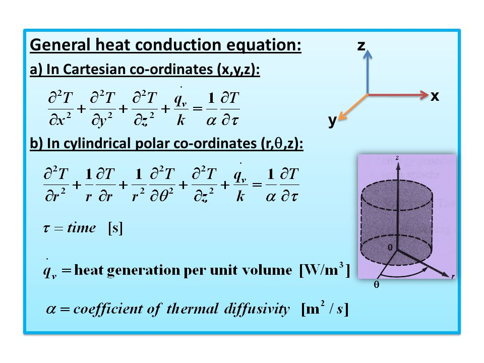 General heat conduction equation: z