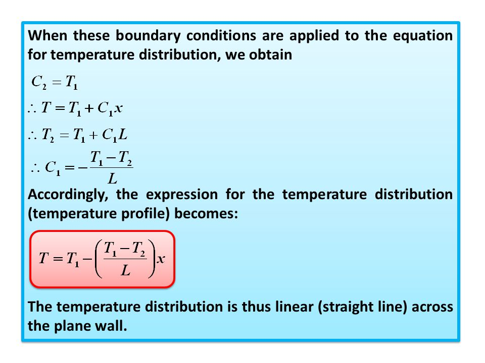 When these boundary conditions are applied to the equation for temperature distribution, we obtain