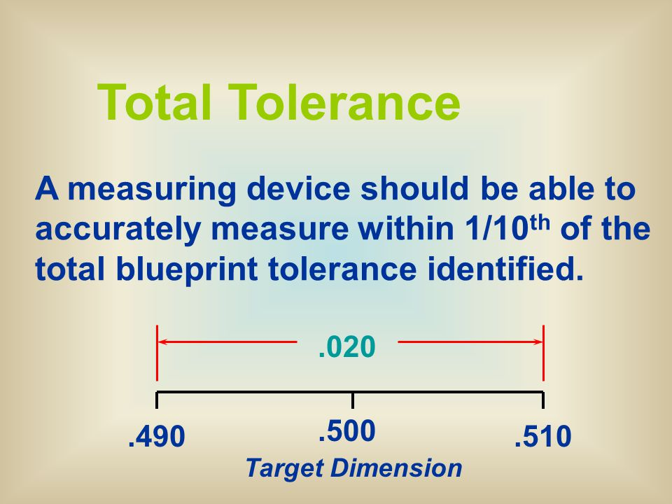 Dimensioning standards ppt download total tolerance a measuring device should be able to accurately measure within 110th of malvernweather Choice Image