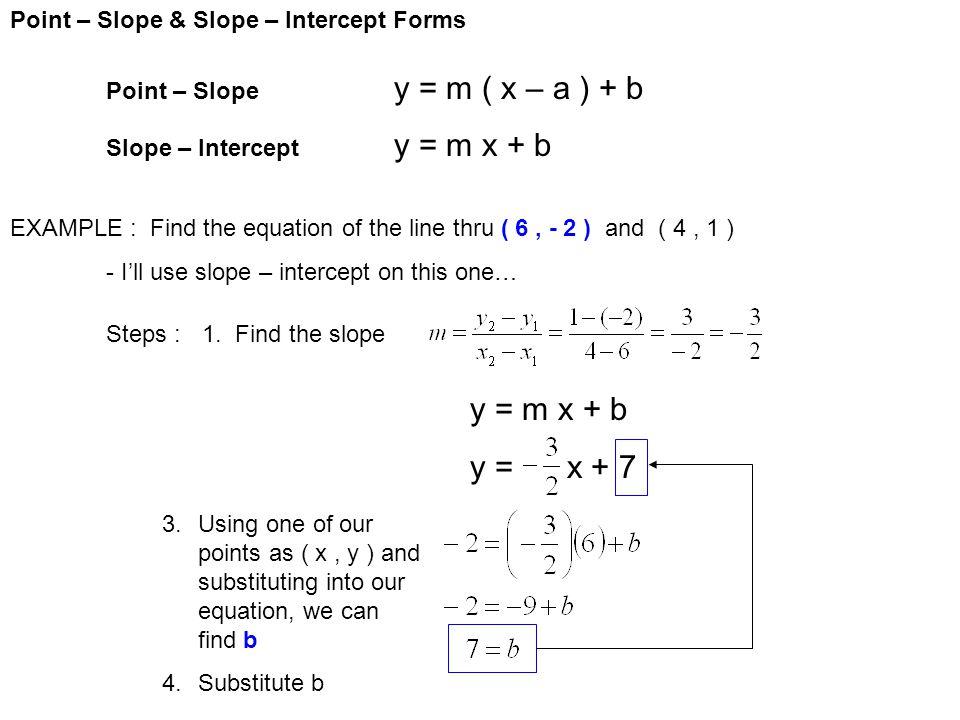 y = m x + b Point – Slope & Slope – Intercept Forms - ppt download