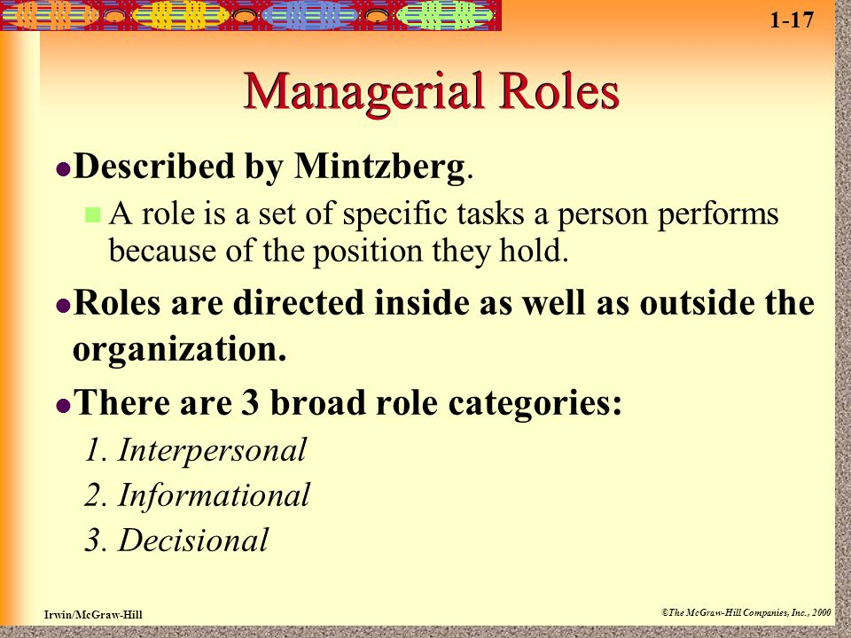 Managerial Roles Described by Mintzberg.