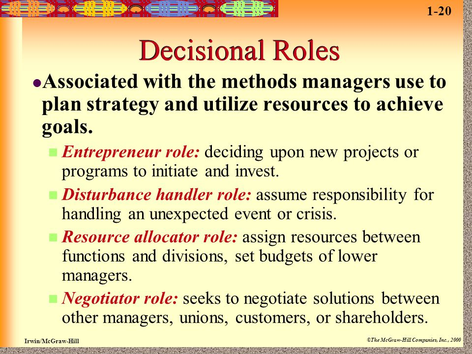 1-20 Decisional Roles. Associated with the methods managers use to plan strategy and utilize resources to achieve goals.