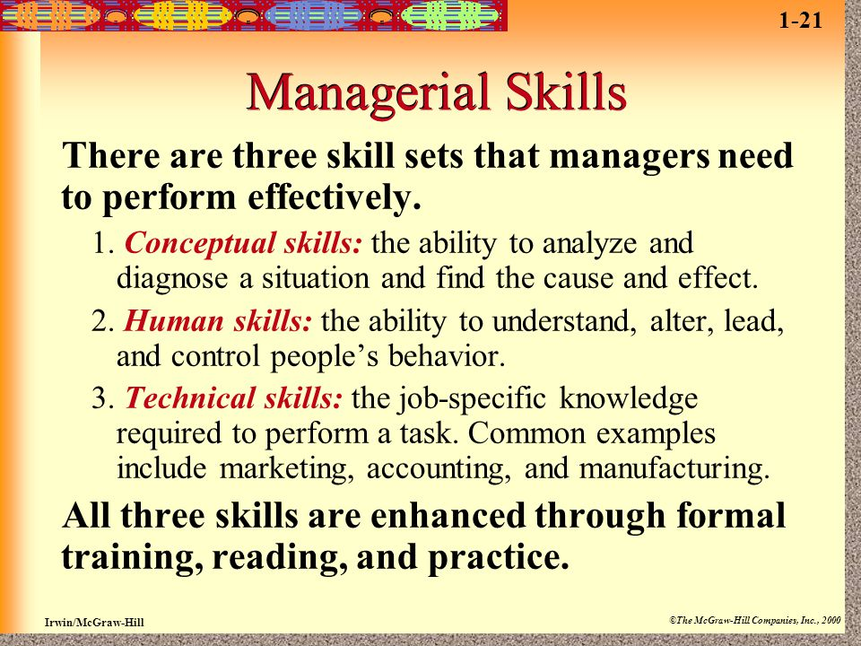 1-21 Managerial Skills. There are three skill sets that managers need to perform effectively.