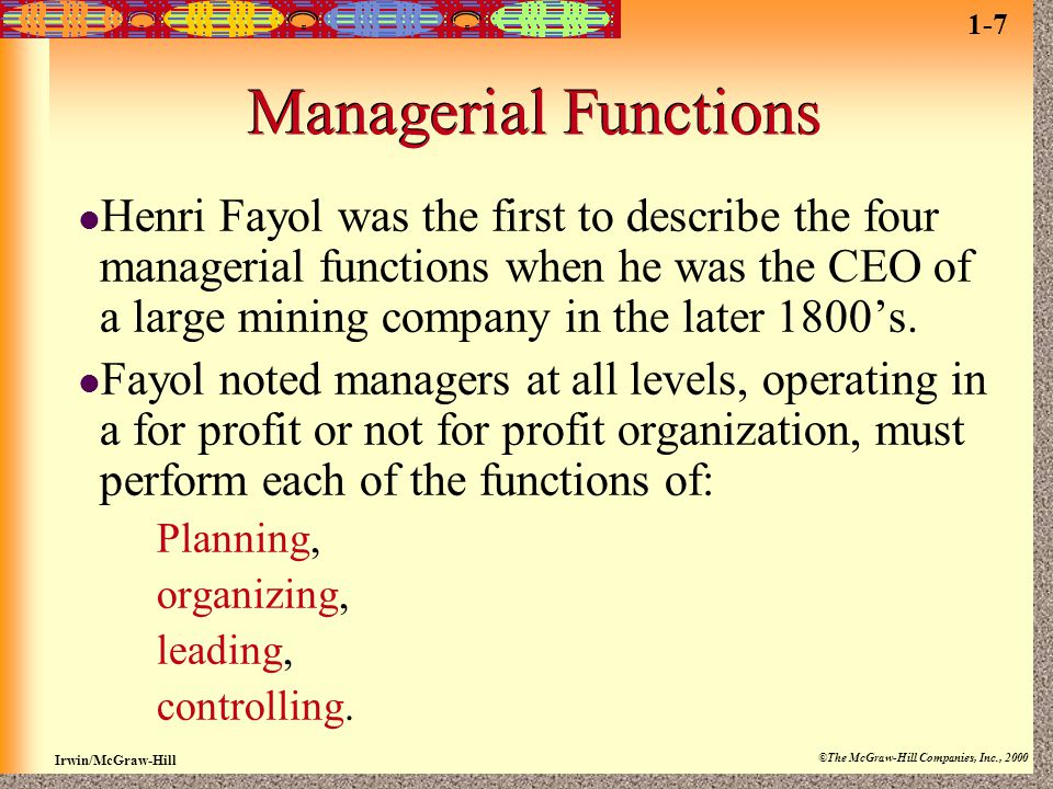 1-7 Managerial Functions.
