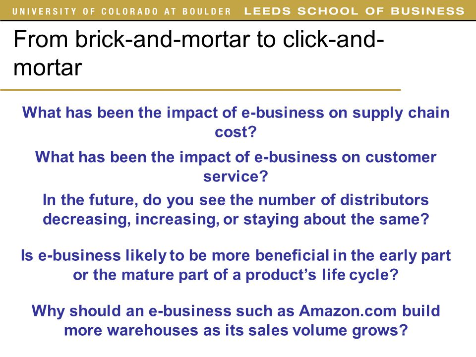 supply chain brick and mortar environment What the brick and mortar retail world will look like in 10-20 years is anyone's   on retail and consumer goods manufacturers' supply chains in the end  we're  planning as if the environment is not going to improve, jerry.