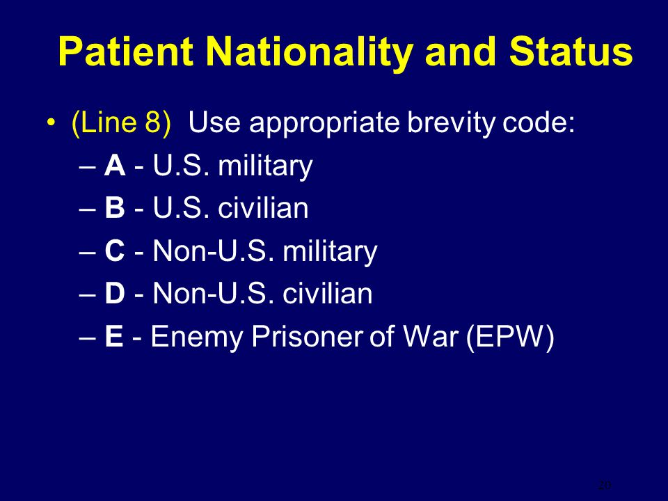 Patient Nationality and Status