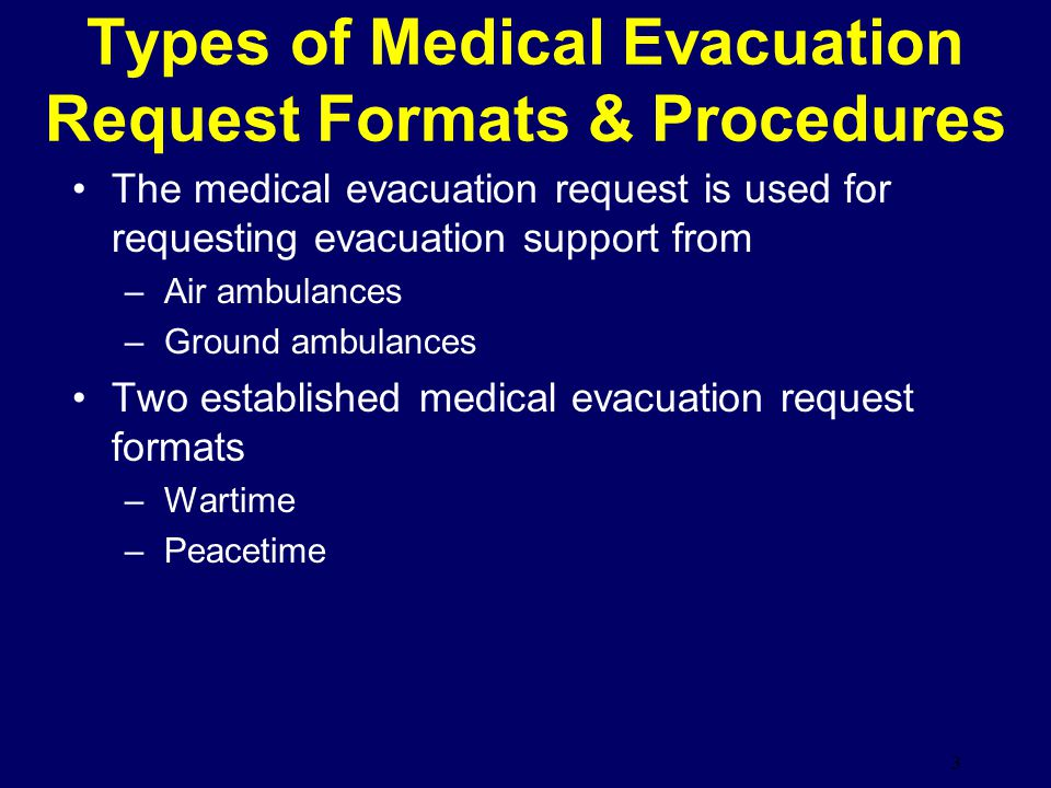Types of Medical Evacuation Request Formats & Procedures