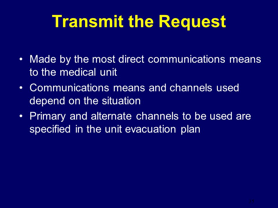 Transmit the Request Made by the most direct communications means to the medical unit.